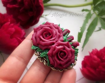 Wine rose, polymer clay flower, rose brooch, rose jewelry, Gift for Her, Mothers Day, Gift for Women, flower brooch