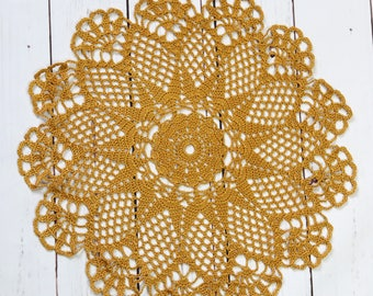 Brown crochet lace doily,  round cotton tablecloth, table centrepiece, large handmade doily 43 cm 17 inch, table topper, home decor