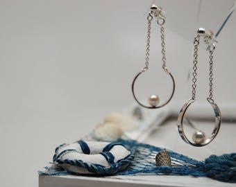 Freshwater pearls Earrings , Sterling Silver Dangle Earrings , Circle Silver Earrings