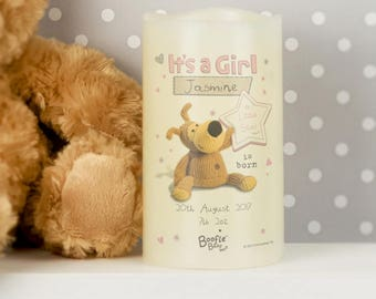 Personalised Boofle It's a Girl Nightlight Christmas New Borns LED Candle Babies Congratulations Pink Babys Nursery