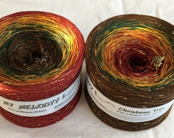 Christmas Tree - Christmas Yarn - Holiday Yarn - Gradient Yarn - Wolltraum Yarn - Crafty Gift - Yarn Gift - Ombre Yarn - Glitter Yarn - Yarn