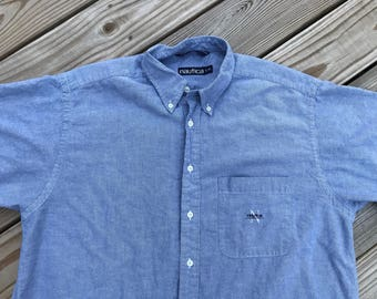 Vintage 90s Nautica Spell Out Button Up