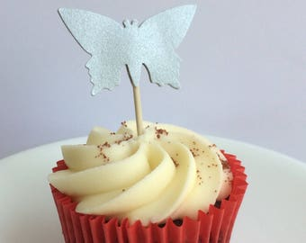 Shimmery Silver Butterfly Cupcake Toppers, Parties, Party Decor, Celebrations