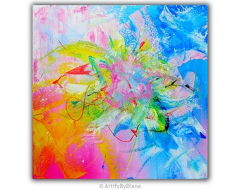Original Abstract Painting, Contemporary Acrylic Painting, Midsize Wall Art, Colorful Abstract Home Decor, Modern Pink, Blue, White Decor