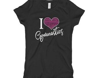 I love gymnastics shirt - Love gymnastics - Cute gymnastics shirt - Cute gymnasts shirt - Gymnastics gift - Heart gymnastics - I love gym