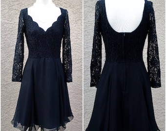 Romantic Black Goth 80s 90s Midnight Glo Lace Scalloped Sweet Heart Neck Long Sleeved Party Cocktail Swing Skirt Dress FREE USA Shipping