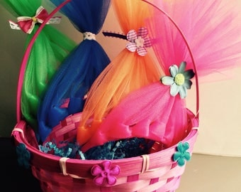 Trolls Themed Easter Basket with 4 Trolls Headbands!  Poppy, Branch, and 2 others.  Their gonna love it!