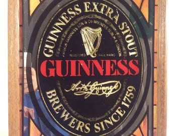 Vintage Guinness Extra Stout Mirror Beer Sign