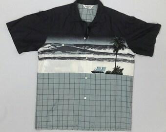 Vintage 1990's Jantzen Sunwear Button Down Shirt Made in Japan