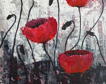 Poppies, just fun to look at. -Acrylic on canvas board (palette knife) – 30x40cm