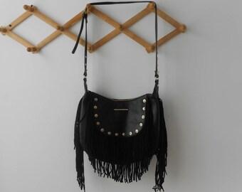 Leather bag, Shoulder bag, Women fringe bag, Leather purse, Black /Navy Handbag Gift for sister Birthday gift Gift for mom Gift for her Boho