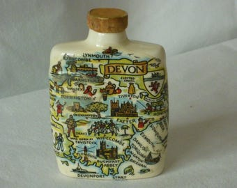 Miniature pottery sherry flask with Devon map