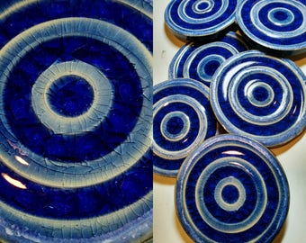 Ceramic coasters with Cobalt Blue Glass   set of 5