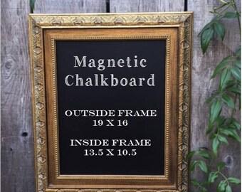 Vintage Gold Ornate Framed Magnetic Chalkboard..Bar Sign..Wedding Sign