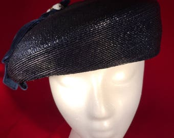 1960's Navy Blue Straw Pill Box Hat with side bow