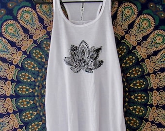 Lotus Womens Tank in White - Graphic Tank - Screen Printed Designs with Eco-Friendly Ink