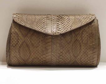 Genuine python gray/beige-vintage 80's bag / Zago Fabio/mint condition / Made In Italy/clutch/shoulder strap