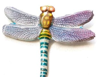 Vintage 50s / 60s Japanese Dragonfly Tin Brooch Pin Collectable