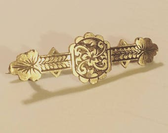 1800s Victorian Engraved Etched Rose Gold Bar Pin Brooch