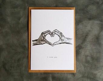I love you greeting card. Anniversary, valentines, wedding card.
