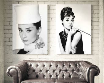 Set of 2 posters Audrey Hepburn. Fashion wall art prints. Audrey Hepburn Wall Art. Fashion set of 2 prints Audrey Hepburn. Free shipping.
