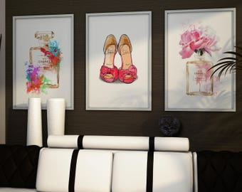 Set of 3 fashion posters. Coco Chanel perfume bottle, Christian Louboutin shoes print. Fashion set prints. Fashion wall art. Free shipping.