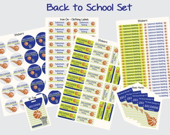 Personalized basketball back to school set 102 stickers/Id tag/20 iron on clothing labels/5 magnet bookmarks/personalized waterproof labels/