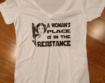 A woman's place is in the resistance women's shirt
