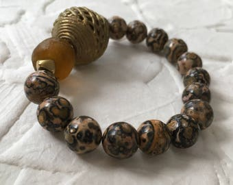 Leopard skin Jasper elastic stretch bracelet with African beads