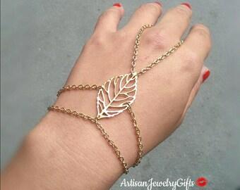 Slave Bracelet Gold Skeleton Leaf Hand Chain Slave Bracelet 14k Gold Plated Leaf Hand Chain Leaf Slave Bracelet Ring Harness Bracelet