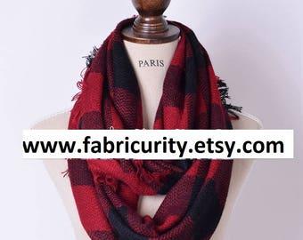 Buffalo Plaid Blanket Infinity Scarf, Infinity Blanket Scarf, Plaid Blanket Scarf, Scarves for Her, Scarves for Women