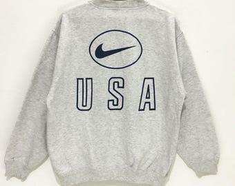 Vintage NIKE Team USA Swoosh Big Logo Tennis NBA Gray medium sweatshirt jumper