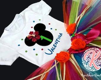 Minnie Glitter Hawaiian Disney, Tshirt and Tutu for Baby Girls, First Birthday Outfit, One Birthday Outfit, First Birthday Set