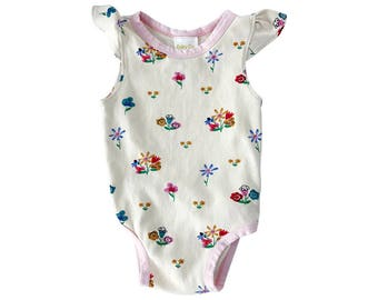 FREE SHIP EVIRY Co. Floral. organic cotton baby bodysuit, baby girls onesie, organic baby onesie, organic baby clothes, Floral