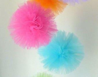 tulle pom poms girls nursery decoration baby shower decor wedding decorations hanging