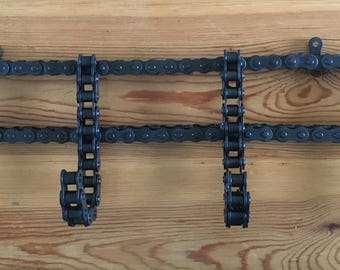 hand made roller chain coat rack industrial welded