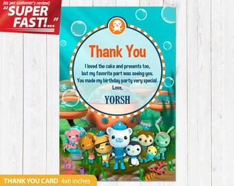 Octonauts Thank You Card PRINTABLE, Octonauts Birthday Thank You Card, Octonauts Birthday Party, Octonauts Custom, v1