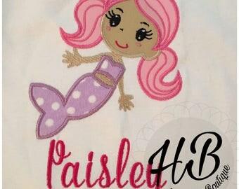 Mermaid with pink hair and polka dots