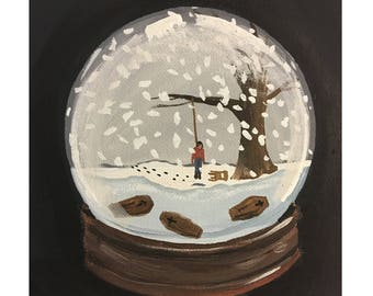 Snow Globe of a Holiday Scene Containing a Miniaturized Version of A Cherished Memory - PRINT
