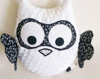 Owl soft toy/cushion - black & white