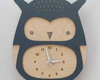 wooden owl clock, dusty blue • modern nursery decor • baby shower gift • woodland theme