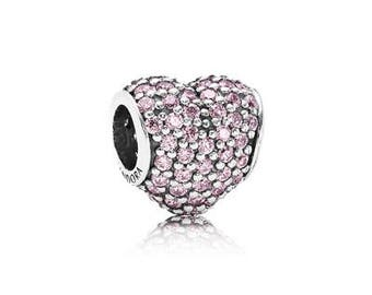 NEW Authentic Pandora Silver Charm Pave Heart Pink Cubic Zirconia 791052PCZ
