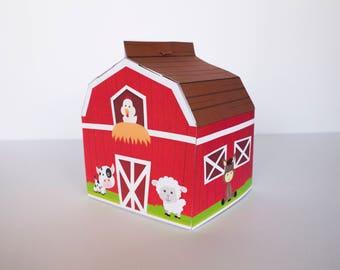 Barn Favor Box | barnyard birthday, barn box, barnyard party favor, farm boy birthday, farm girl birthday, barnyard party, barnyard animals