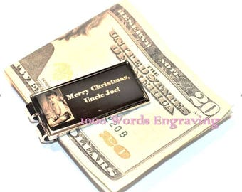Custom photo-engraved silver money clip