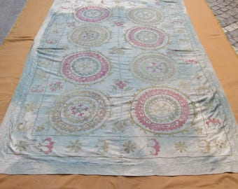 Vintage Suzani,Middle old bedding,hand made cotton wall hanging,embroidery suzani cover, 6'9 feet x 4'8 feet ,n:102