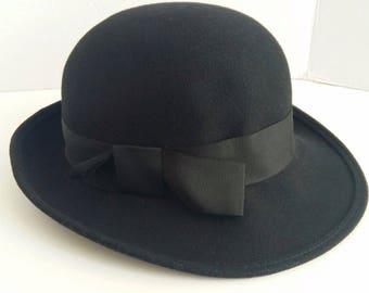Women's Doeskin Geo. W. Bollman Wool Felt Hat With Grosgrain Ribbon Size 6.78