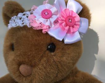 Handmade Newborn Headband White and Pink Flowers