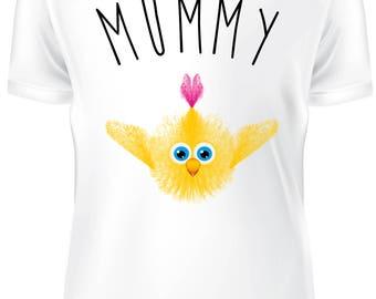 White T-shirt - mummy cute chicken  - B-WD-011