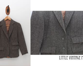 Tweed Wool Vintage Dress Coat
