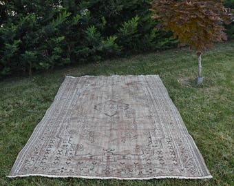 Large Area Free Shipping Organic Handknotted Oushak Rug 6. x 9.7 feet Vintage Floor Rug Tribal Rug Rustic Rug Rugs Boho Decor Rug DC975